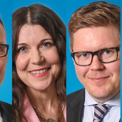 Jukka Kopra, Arja Juvonen, Antti Lindtman ja Juho Eerola yhteiskuvassa.