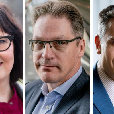 Kolmen kuvan kooste. Kuvissa EK:n Janica Ylikarjula, Varman Risto Murto ja Nordean Jan von Gerich. He kaikki katsovat suoraan ja hymyilevät.