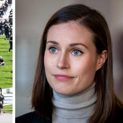 Kuvakombo Kulttuuriväen mielenosoitus ja Sanna Marin.