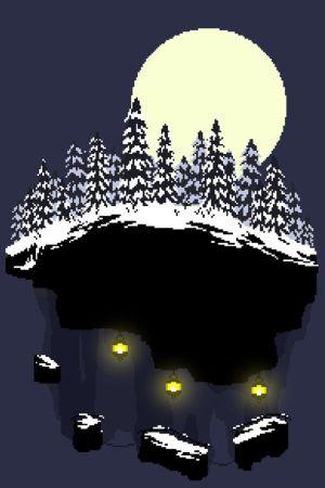 Ett snöigt landskap ritat med Pixelart