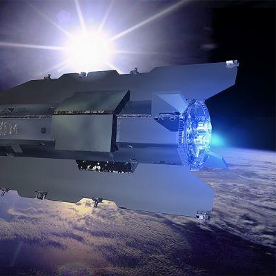 Havainnekuva GOCE-satelliitista kiertoradalla.
