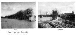 Gammalt vykort från vattenövningsområdet vid Lohmühle