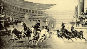 Painting of chariotracing in a Roman circus. Made by Albert Kuhn in 1913