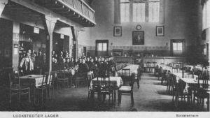 Gammalt vykort av salen i soldathemmet i Lockstedter Lager