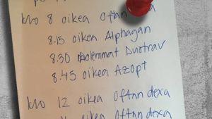 aikataulukko: silmätippojen laitto-ohjeet