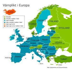 Karta som visar hur värnplikten organiseras i olika europeiska länder. Merparten saknar värnplikt.