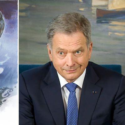 Pertti Anikarin karikatyyri Sale, aikas vallaton pressa 2017 ja Niinistön kuva.