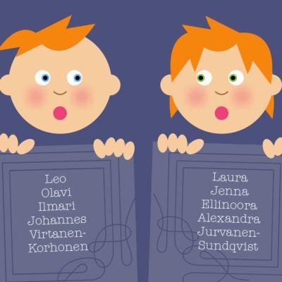 Nimiuudistuksessa lapsi voi saada neljä etunimeä ja yhdistelmäsukunimen.