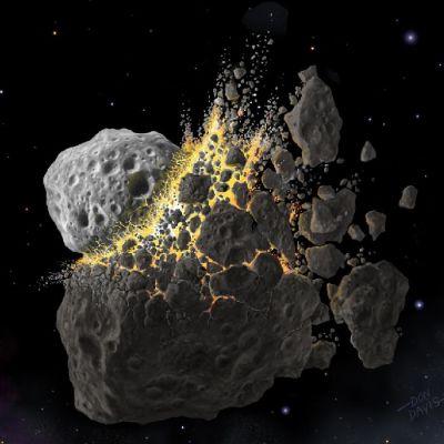 Piirroskuva törmäyksessä kappaleiksi hajoavasta asteroidista.
