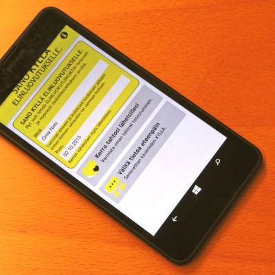 Elinluovutuskortti nyt myös mobiilissa