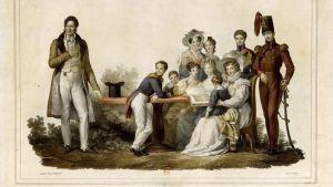 Ranskan kuningas Louis Philippe (vas) perheineen 1830-1831. Taiteilija Alexandre Èvariste Fragonard.