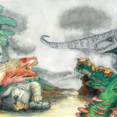 Piirros matalassa vedessä seisovasta krokotiilieläimestä, jonka jalkojen alla on saaliseläimen raato. Rantapenkereellä ärisee toisenlainen krokotiilieläin.