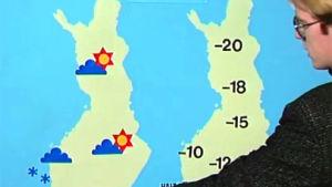 Meteorolog Kenneth Holmlund berättar om vädret, Yle 1987