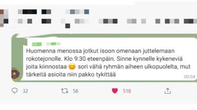 En person skriver på sociala medier att hen tänker besöka vaccinationskö och tala med dem som tänker vaccinera sig.