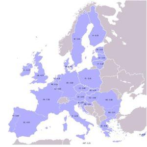 karta med information över medelpriset på en ask cigaretter i respektive EU-land.