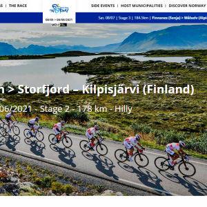 Polkupyöräkilpailijat Norjan maisemassa