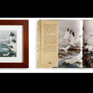 Till vänster ett verk som Petra Domsch hade till salu våren 2013, till höger ett uppslag ur en bok illustrerad av Gennadi Spirini