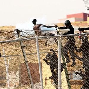 Migranter klättrar över staket i Melilla.