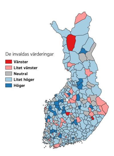 Karta som visar invaldas värderingar på vänster-högerskalan, de flesta kommuner är litet höger.
