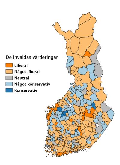 Karta som visar invaldas värderingar på konservativ-liberal-skalan, det syns att svenskspråkiga kustkommunerna är liberalare än övriga landet.