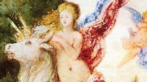 Detalj ur Gustave Moreaus målning Europa och tjuren