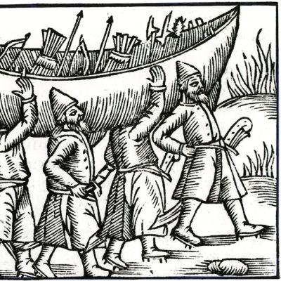 Viikingit kantavat venettä. Olaus Magnuksen teoksen kuvitusta.
