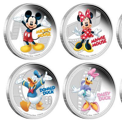 Niuen vuonna 2014 julkaiseman Disney-aiheisen hopeakolikkosarjan kolikot.