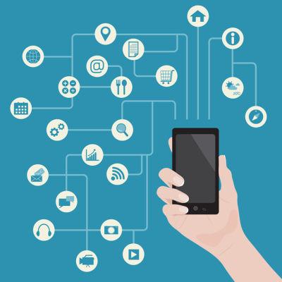Käsi jossa älypuhelin ja sovellusikoneja, grafiikka