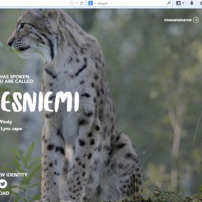 VisitFinland.com sivustoilla voi saada kalevalaisen nimen itselleen nimigeneraattorilla, kuvassa Tuuli Ilvesniemi  ja ilves.