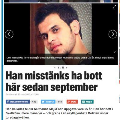 Kuvankaappaus ruotsalaisen Expressen-lehden verkkosivuilta.