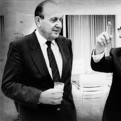 Saksan ulkoministeri Hans-Dietrich Genscher (vas.) ja Yhdysvaltain entinen ulkoministeri Henry Kissinger elokuussa 1985.