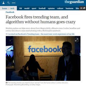 Kuvakaappaus Guardianin uutisesta.