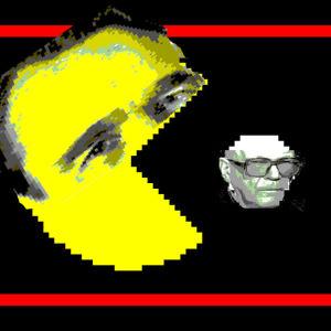 Presidenterna Mauno Koivisto och UKKekkonen omgjorda till ett Pacmanspel, där Koivisto tuggar i sig Kekkonen
