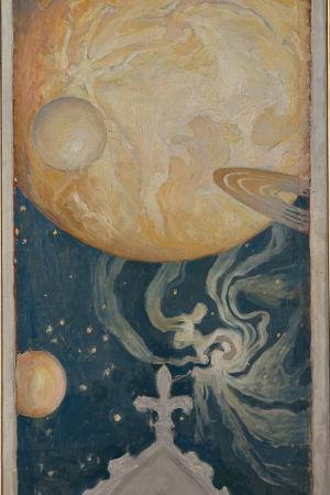 Detalj av Gallen-Kallelas målning Kosmos från 1902.