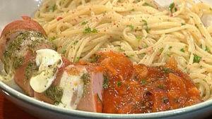 Makupalojen euroruokaa eli lenkkimakkaraa mozzarellalla ja pestolla. Lisukkeena spaghettia ja tomaattikastiketta.