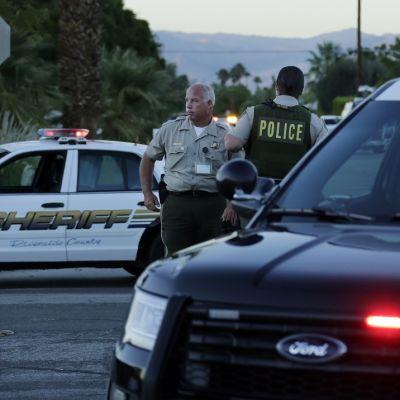 Poliisiautoja, poliiseja kadulla.