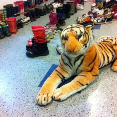 Tiikeri vartioi pakolaisille lahjoitettuja lkenkiä.