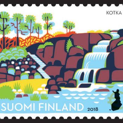 Sapokan vesipuistoa esittävä postimerkki