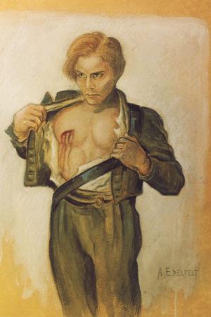 Förfalskad målning föreställande en sårad krigare från Fänrik Ståhls sägner.
