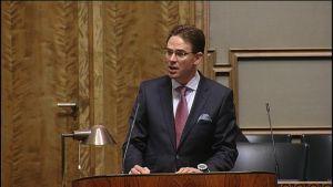 Statsminister Jyrki Katainen i riksdagen
