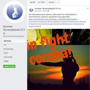 Föreningen Suomen terveysjärjestö gör ett upprop på Facebook och ber människor underteckna en petition för att finländare som insjuknar i coronavirus ska få behandling med höga doser av intravenöst C-vitamin.