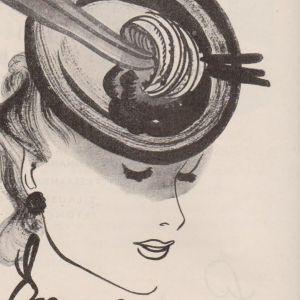Stockmannreklam 1939, teckning av dam med hatt
