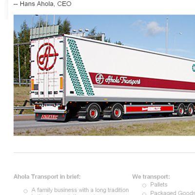 Långtradare från Ahola Transport i Karleby.
