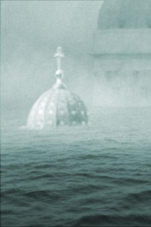 Helsingin tuomiokirkko merenpinnan alapuolella vedenpaisumuksen jälkeen.