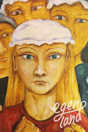 Kollage av två tavlor med häxmotiv målade av Stina Engvall.