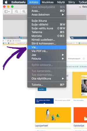 macOS Esikatseluohjelmalla kuvatiedoston vaihtaminen, nuoli osoittaa Arkisto valikon alla Vie... kohtaa