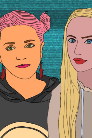 Piirretty kuva kansanmuusikko Maija Kauhasesta ja poppari Emily Frostista.