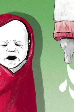 Kuvituskuva: itkevä vauva ja tuttipullo
