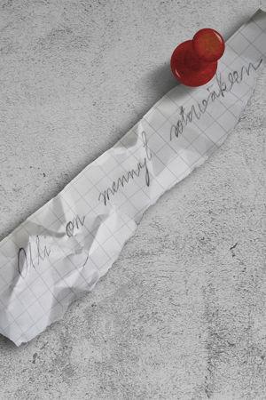 """Muistilappu, jossa lukee """"Olli on mennyt sotaväkeen""""."""
