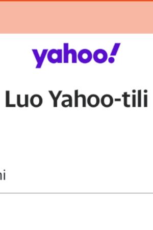 Näyttökuva Yahoo mailin rekisteröinnistä. Nimi, ikä ja puhnro